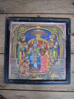 Vintage Print of Rama, wife Sita, Rama's brothers and the Monkey God Hanuman